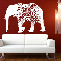 Wall Decal Vinyl Sticker Decals Art Decor Design Mural Ganesh Om Elephant Floral Pattern Damask Tribal Buddha Karma India Bedroom Dorm(r680)