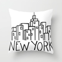 new york Throw Pillow by cartoon pizza | Society6