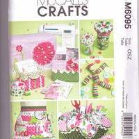 New McCalls Craft pattern sewing machine cover apron pattern boxes pin cushion organizer button doll