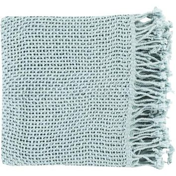 Tibey Open Weave Throw Blanket - Pale Blue