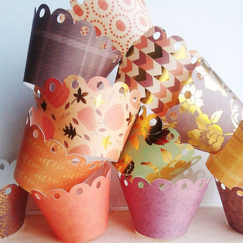 Thanksgiving cupcake, cupcake liners, set of 18, destash, on sale, ready to ship, southernscrappn, on sale