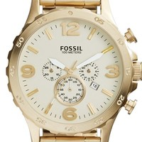 Men's Fossil 'Nate' Chronograph Bracelet Watch, 50mm - Gold/ Champagne