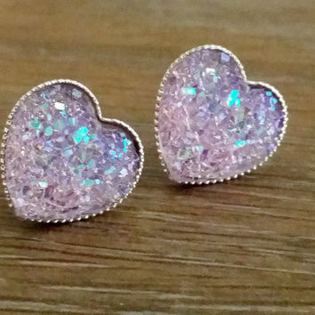 Druzy earrings- Lavender heart drusy silver tone stud druzy earrings