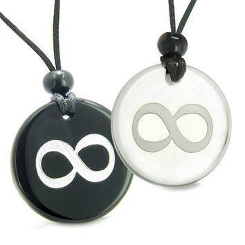 Amulets Love Couple Eternity Infinity Possibilities Powers Quartz Black Agate Pendant Necklaces