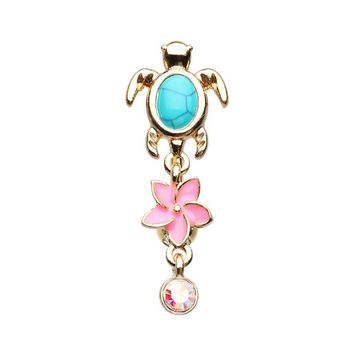 Golden Hawaiian Sea Turtle Belly Button Ring 14ga Navel Ring