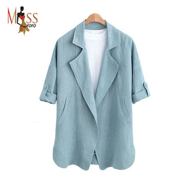 2016new autumn high fashion street Women's casual blazer comfortable linen basic jacket business suit Medium-long loose clothing