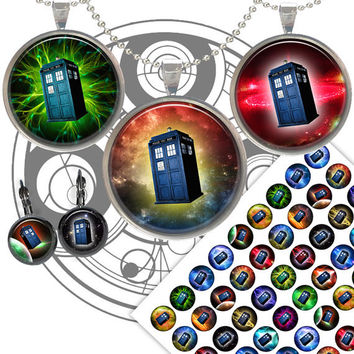Tardis Dr Who Time Machine images for Jewelry Making, Bottle caps Printable Digital Collage Sheet