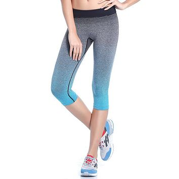 Running Workout Leggings Gym Fitness Tights Athletic Capri Pants Gradient Color