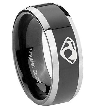 10mm House of Van Beveled Edges Glossy Black 2 Tone Tungsten Wedding Bands Ring