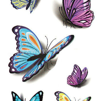 3D Butterfly Pattern for Women Waterproof Tattoo Body Art Temporary Tattoo Stickers for Simulation Makeup