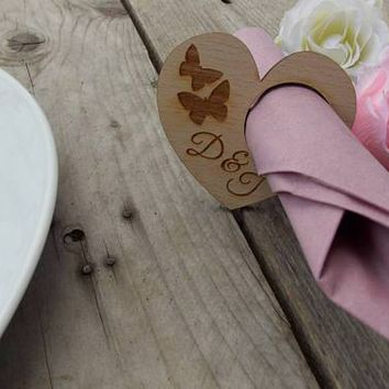"""Napkin rings """"Butterfly with initial / rustic  wedding"""
