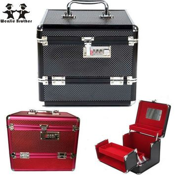 ESBON5U wenjie brother Professional Aluminium alloy Make up Box Makeup Case Beauty Case Cosmetic Bag Multi Tiers Lockable Jewelry Box