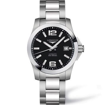 LONGINES CONQUEST 39MM AUTOMATIC BLACK DIAL STAINLESS STEEL BRACELET