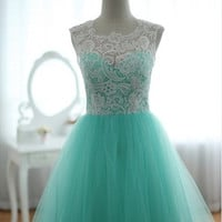 Lace Tulle Wedding Dress Prom Ball Gown Blue Tulle Dress Turquoise Sweetheart Dress