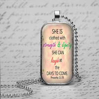 Ladies Proverbs 31:25 Scripture Necklace Glass Tile Christian Dignity Jewelry Proverbs Bible Pendant  Religious Gift