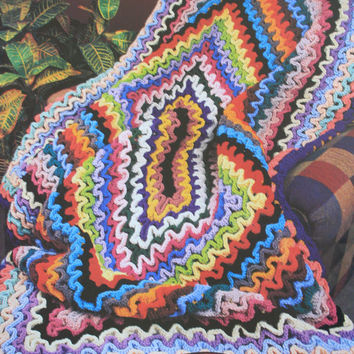 Ruffles and Blocks Afghan Pattern from Annie's Attic Crochet Tunisian RARE