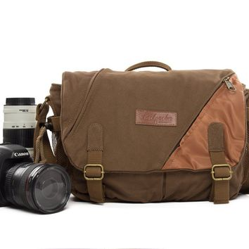 BLUESEBE UNISEX WAXED CANVAS MESSENGER DSLR CAMERA BAG BBK-6C
