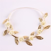 Beautiful Rose Flower with Gold Leaves Headband