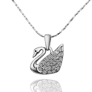 White Gold Plated Peaceful Dove Necklace