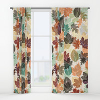 Autumn Leaves 2 Window Curtains by Fimbis