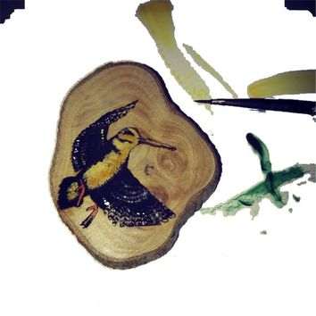 Woodcock Bird Hand Painted Necklace Wooden Charm Brown  Eco Friendly Handmade Personalised Charms Wood Hand made Jewellery #Woodcock #Etsy