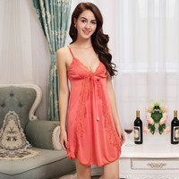 Hot 2016 New Women Sexy Nightwear 5 Colors  Lace Nightgown Sleepwear Dress G-String Sexy Lingerie Robe Sexy