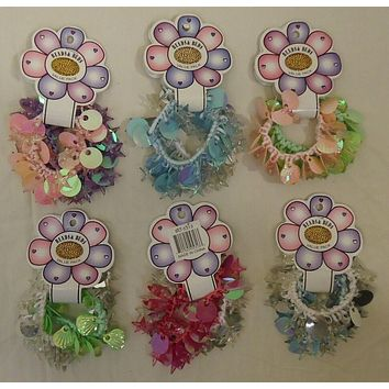 Stretchy Bracelets Hair Ties Qty 6 Pairs Sequins Plastic Beads Cool