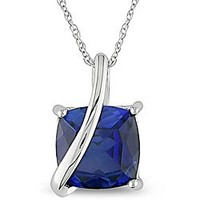 Cushion Square Created Sapphire Necklace in 10K White Gold