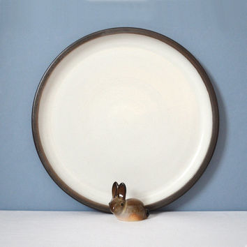 Extra Large Heath Ceramics Rim Line Platter or Chop Plate -  White and Metallic Brown Oxide
