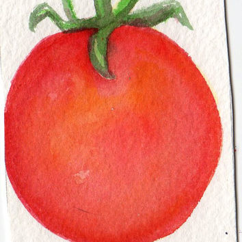ACEO Tomato Painting Art Card  Original by SharonFosterArt on Etsy
