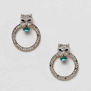 ALDO leopard head rhinestone hoop earrings with emerald stones at asos.com