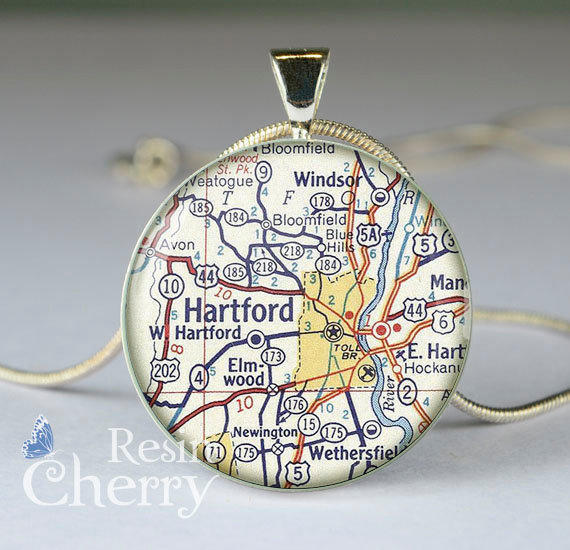 Vintage hartford map necklace from resincherry on etsy for Jewelry stores in hartford ct