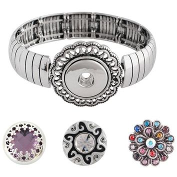 Snap Charm Metal Stretch Bracelet Includes 3 Snaps Shown Fits Ginger Snaps