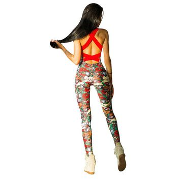 Women Fitness Yoga Sports Jumpsuit Floral Backless Female Gym Tracksuit 1 Piece Workout Set Ladies Running Sportswear Sets