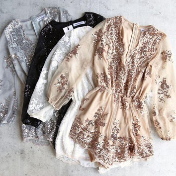 Fashion new reverse - life of the party sequin romper - more colors