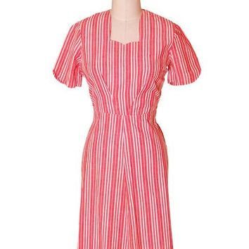 Vintage Cotton Printed  House Dress Frock Red Stripes  Early 1940s 40-30-40