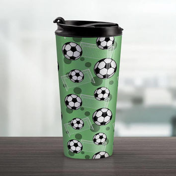 Green Soccer Travel Mug - Sports Pattern with Soccer Balls and Goals over Green - 15oz Stainless Steel - Made to Order