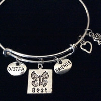 Sister Best Friend Butterfly and Rose Expandable Silver Charm Bracelet Adjustable Bangle Trendy Gift