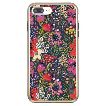 Vintage Bright Floral Pattern Fabric Incipio DualPro Shine iPhone 7 Plus Case