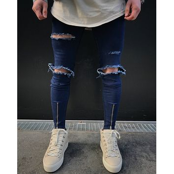 2017 men ripped jeans pants zipper design jean destroyed big male slim denim straight biker skinny jeans men street trousers