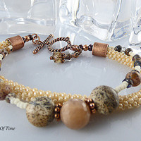 Natural Tan Color Kumihimo Bracelet Double Strand,Gemstone, Agate, Picture Jasper, Handmade, Beaded, Czech Glass, Copper Color Toggle, Gift