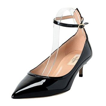 Valentino Garavani Women's Patent Leather Black Ankle Strap Kitten Heels Shoes