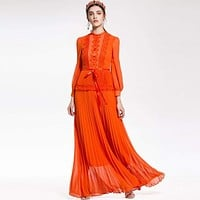 Lace Ruffles Bow Patchwork Lantern Long Sleeve Pleated Maxi Dress