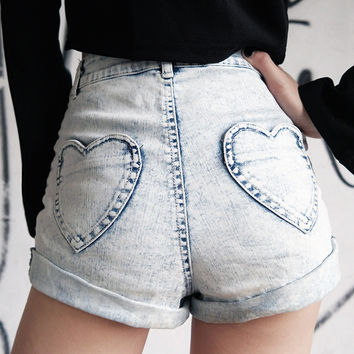 Cute Love Pocket High Waist Denim Shorts