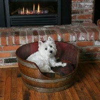 Wine Barrel Dog Bed - Wine Barrel Pet Bed