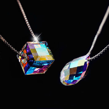 Stylish Jewelry New Arrival Gift Shiny 925 Silver Crystal Lock Pendant Korean Accessory Necklace [7992533825]