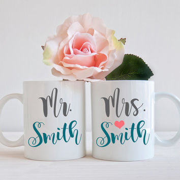 Mr and Mrs Gift, Set of 2 Mugs, Couple Newly Engaged Gift, Engagement Mug, Bride to Be Gift, Engaged Gift, Coffee Mug, Cup Office Decor