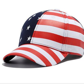 WENDYWU 2017 NEW Free Shipping USA American Flag Embroidered Adjustable Strap Baseball Cap Hat