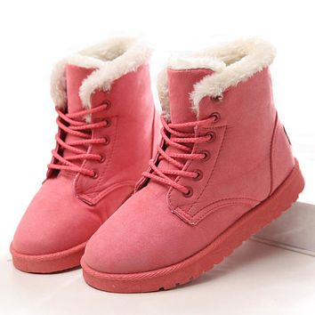 2018 Classic Women Boots Woman Winter Boots Plus Size 43 Snow Boots With Plush Booties For Winter Shoes Woman Ankle Botas Mujer
