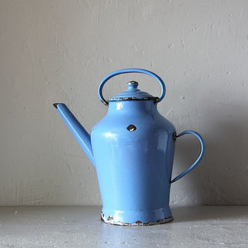 French Vintage Blue Enamel Watering Can